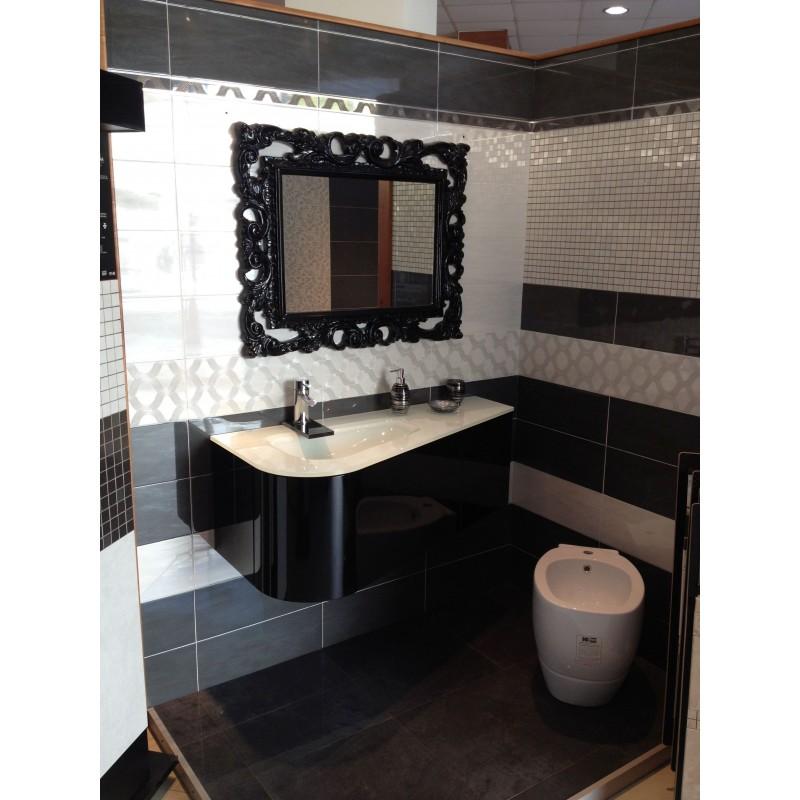 Mobile wabi da 118 cm nero lucido di dio ceramiche online - Mobile bagno nero lucido ...